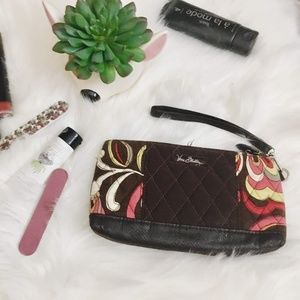 Vera Bradley Brown Pink and Chartreuse Wallet